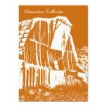 "Rustic Barn Wedding Invitation - Orange 5"" X 7"" Invitation Card"