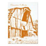 "Rustic Barn Wedding Invitation - Orange 2 5"" X 7"" Invitation Card"