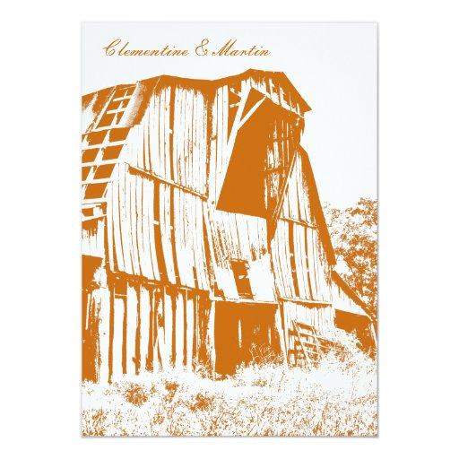 Rustic Barn Wedding Invitation - Orange 2