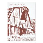 "Rustic Barn Wedding Invitation - Red 2 5"" X 7"" Invitation Card"