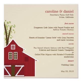 Rustic Barn Wedding Menu Card