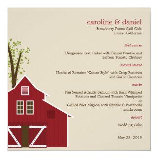 Rustic Barn Wedding Menu Card Personalized Invite