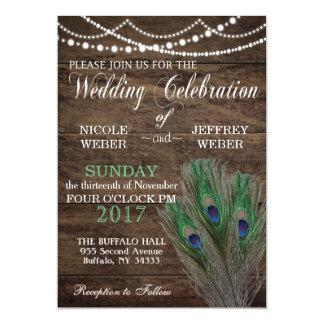 Rustic Barn Wedding Peacock Blue Boho Invitation