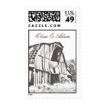 Rustic Barn Wedding Postage - Brown 2