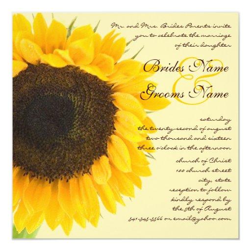 Rustic Barn Wedding Sunflower Invitation