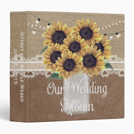 Rustic Barn Wedding Sunflower Mason Jar Album 3 Ring Binder