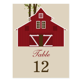 Rustic Barn Wedding Table Number Card