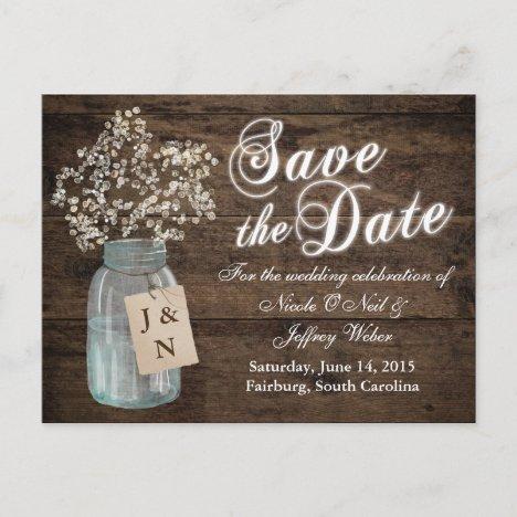 Rustic Barn Wedding Wood Mason Jar Babys Breath Announcement Postcard