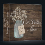 """Rustic Barn Wedding Wood Mason Jar Babys Breath Binder<br><div class=""""desc"""">This is a beautiful country rustic wedding design featuring white baby&#39;s breath florals inside a mason jar. You can customize this design further by clicking on the CUSTOMIZE IT button. I am able to design any matching item so be sure to contact me if you need something else made just...</div>"""