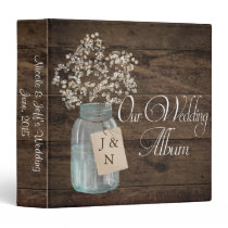 Rustic Barn Wedding Wood Mason Jar Babys Breath Binder
