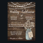 """Rustic Barn Wedding Wood Mason Jar Babys Breath Card<br><div class=""""desc"""">This is a beautiful country rustic wedding design featuring white baby&#39;s breath florals inside a mason jar. You can customize this design further by clicking on the CUSTOMIZE IT button. I am able to design any matching item so be sure to contact me if you need something else made just...</div>"""