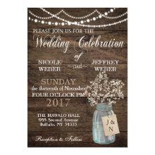Rustic Barn Wedding Wood Mason Jar Babys Breath Card