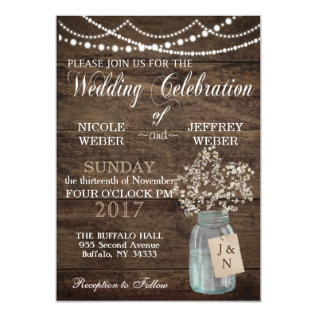 Rustic Barn Wedding Wood Mason Jar Babys Breath Card at Zazzle