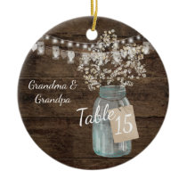 Rustic Barn Wedding Wood Mason Jar Babys Breath Ceramic Ornament