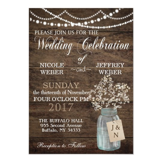 Rustic Barn Wedding Wood Mason Jar Babys Breath Invitation Zazzle Com