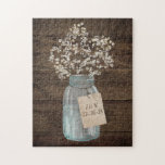 """Rustic Barn Wedding Wood Mason Jar Babys Breath Jigsaw Puzzle<br><div class=""""desc"""">This is a beautiful country rustic wedding design featuring white baby&#39;s breath florals inside a mason jar. You can customize this design further by clicking on the CUSTOMIZE IT button. I am able to design any matching item so be sure to contact me if you need something else made just...</div>"""