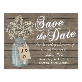 Rustic Barn Wedding Wood Mason Jar Babys Breath Postcard