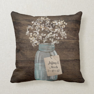 Rustic Barn Wedding Wood Mason Jar Babys Breath Throw Pillow