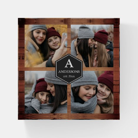 Rustic Barn Wood 4 Pictures Family Photo Collage Paperweight