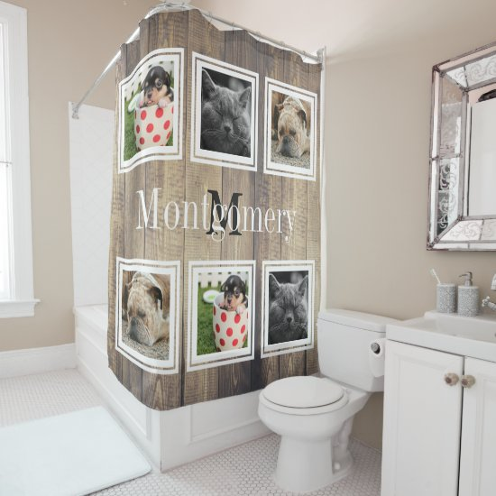 Rustic Barn Wood 6 Family Photos & Family Name Shower Curtain