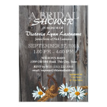 Rustic Barn Wood and Daisies Bridal Shower Card