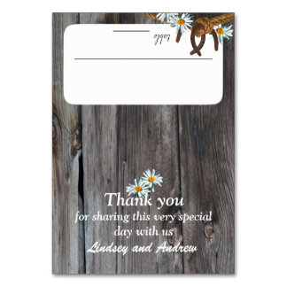 Rustic Barn Wood and Horseshoes Seating Card