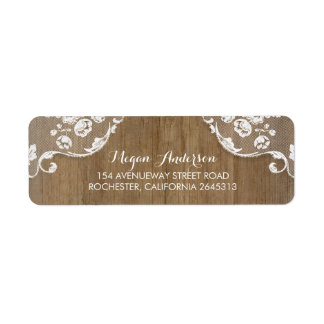 Rustic Barn Wood and Lace Chic Country Wedding Label