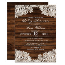 Rustic Barn Wood and Lace Country Baby Shower Card
