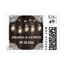 Rustic Barn Wood and Lace Mason Jar Wedding Stamps