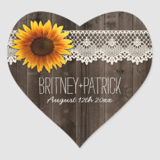 Rustic Barn Wood and Lace Sunflower Wedding Favors Heart Sticker