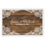Rustic Barn Wood and Lace Wedding Acrylic Tray