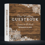 """Rustic Barn Wood and Lace Wedding Guestbook Binder<br><div class=""""desc"""">Rustic western wood and lace theme for this wedding guestbook binder you&#39;ll treasure forever.</div>"""