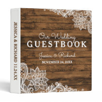 Rustic Barn Wood and Lace Wedding Guestbook Binder