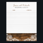 "Rustic Barn Wood and Lace Wedding Guestbook Paper<br><div class=""desc"">Pretty matching western lace wedding guestbook paper for your custom guestbook binder</div>"