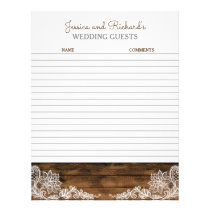 Rustic Barn Wood and Lace Wedding Guestbook Paper