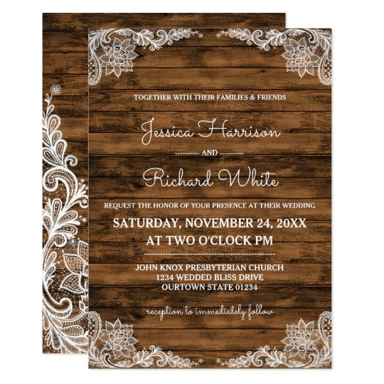 Rustic Barn Wood And Lace Wedding Invitation