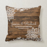 "Rustic Barn Wood and Lace Wedding Pillow<br><div class=""desc"">Pretty country barn wood and lace theme on this wedding keepsake pillow</div>"