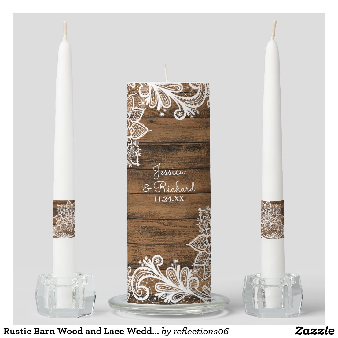 Rustic Barn Wood and Lace Wedding Unity Candle Set