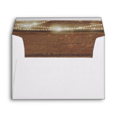 Rustic Barn Wood And String Lights Wedding Envelope at Zazzle