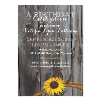 Rustic Barn Wood and Sunflower Birthday Personalized Invitations