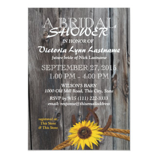 Rustic Barn Wood and Sunflower Bridal Shower 5x7 Paper Invitation Card