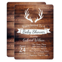 Rustic Barn Wood Antlers White Ribbon Baby Shower Card