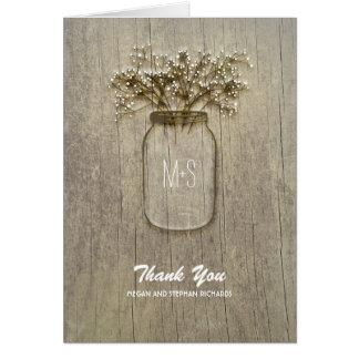 rustic barn wood baby's breath mason jar thank you card