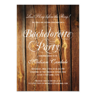 Rustic Barn Wood Bachelorette Party Invitations