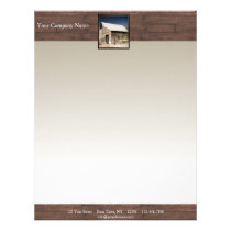 Rustic Barn Wood Borders on Sun Faded Background Letterhead