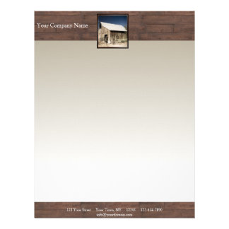 Rustic Barn Wood Borders on Sun Faded Background Personalized Letterhead