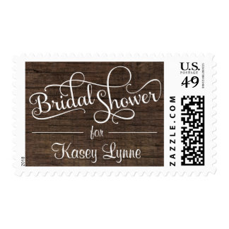 Rustic Barn Wood Bridal Shower Fancy Script Stamps