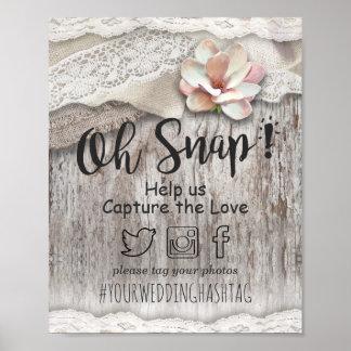 Rustic Barn Wood Burlap Lace Snap Hashtag Weddings Poster