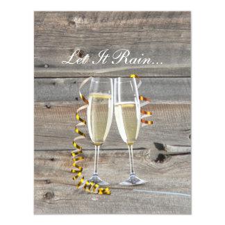 rustic barn wood champagne western country wedding card