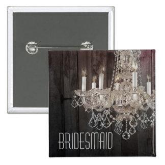 Rustic barn wood chandelier bridesmaid button